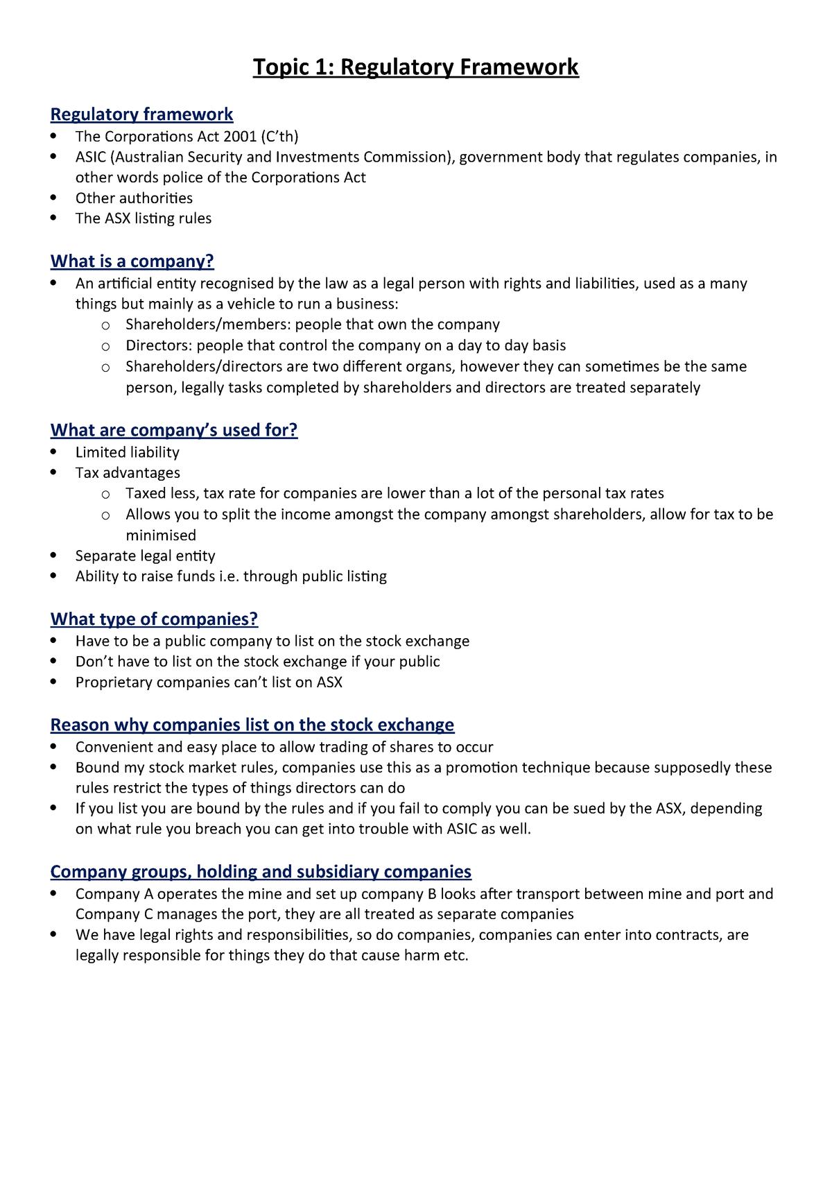 Topic 1 - Regulatory Framework - ACC/ACF3200: Management