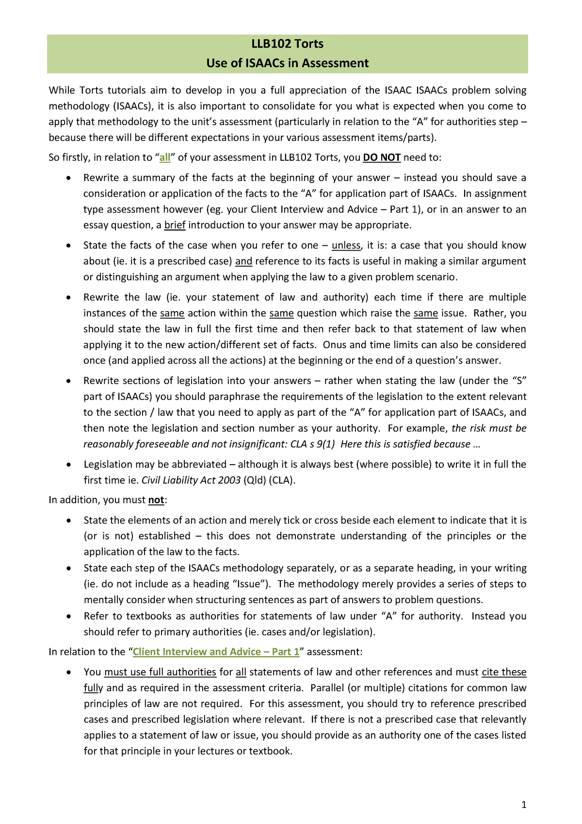 LLB102 Torts - Isaacs in Assessment - QUT - StuDocu