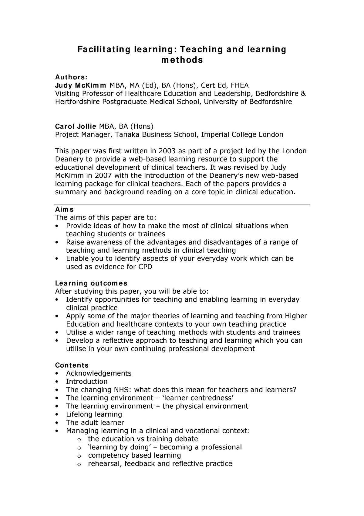 Facilitating learning teaching - learning methods - MASE: MA