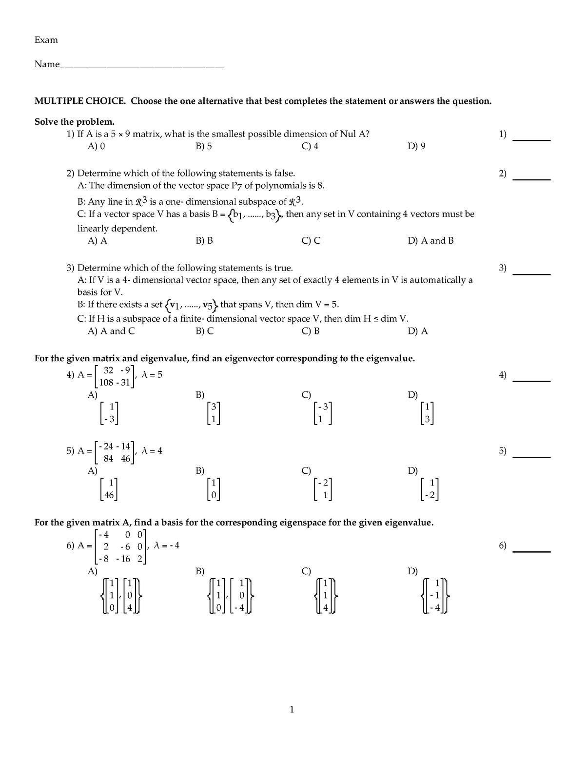 Exam 2014 - CSC 310: Linear Algebra and Matrix Comp - StuDocu