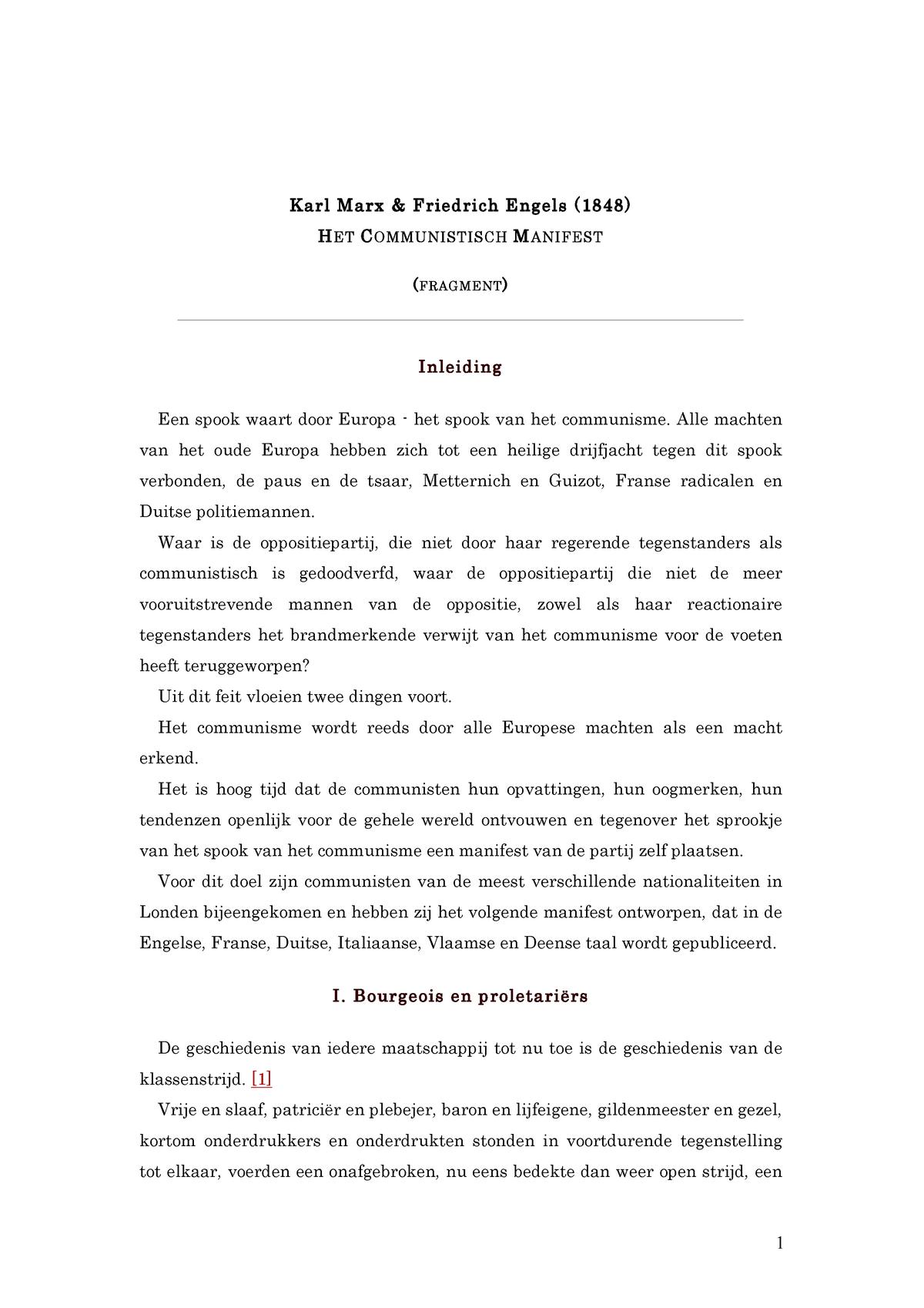Marx Engels Communistisch Manifest Fragment Studocu
