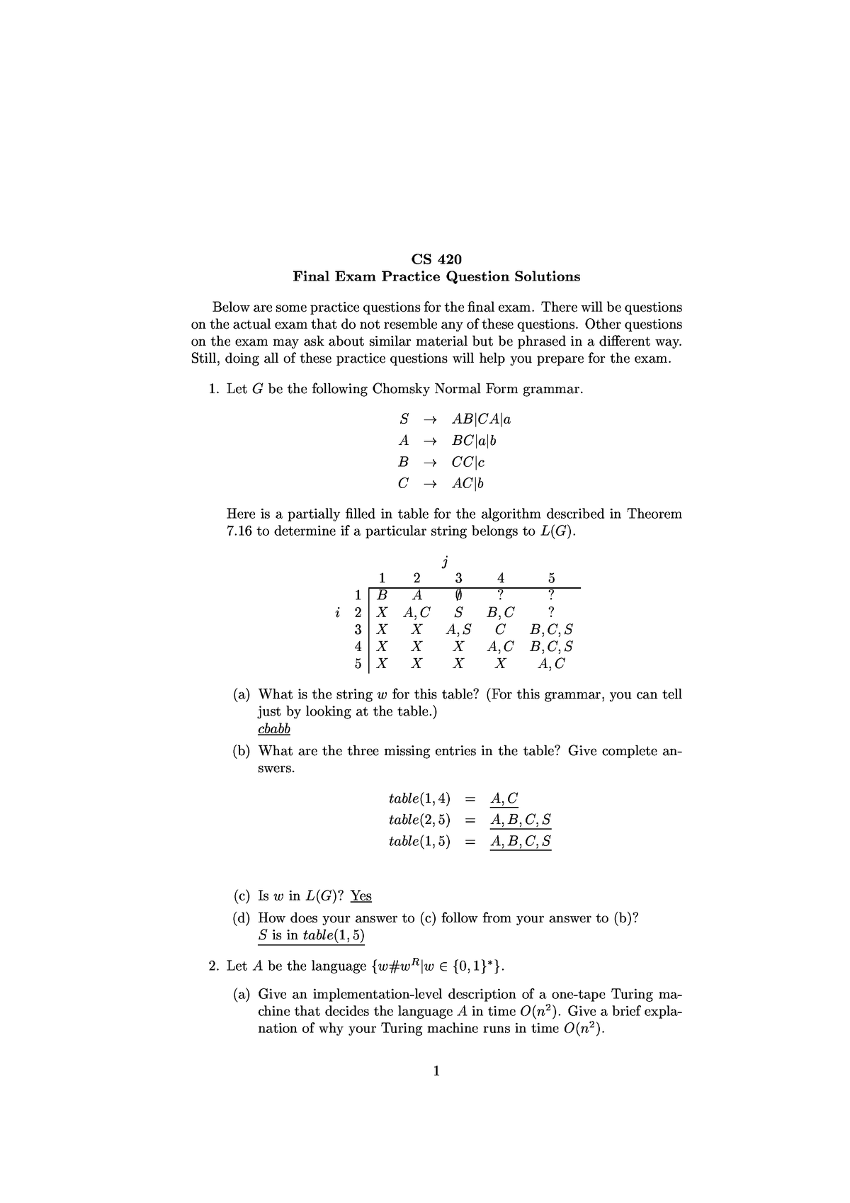 Exam 2018 - CS420: An Introduction to the Theory of Computation