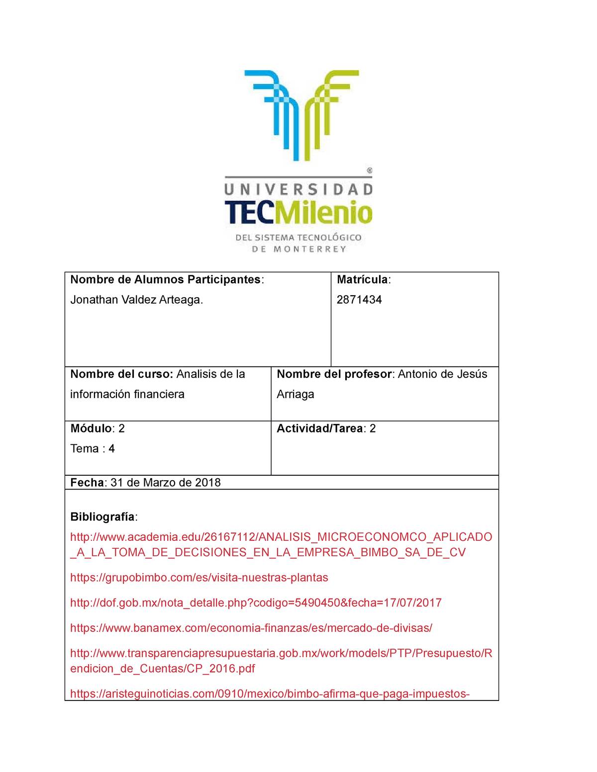 Proyecto Bimbo Final Grade 100 Economia Tecmilenio