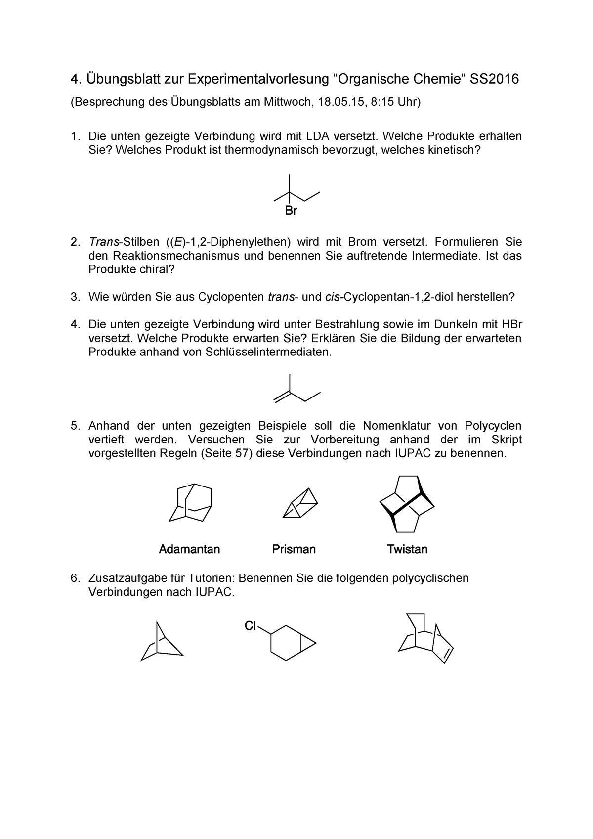 übungen 4 übungsblatt Ss 2016 Organische Chemie 0000