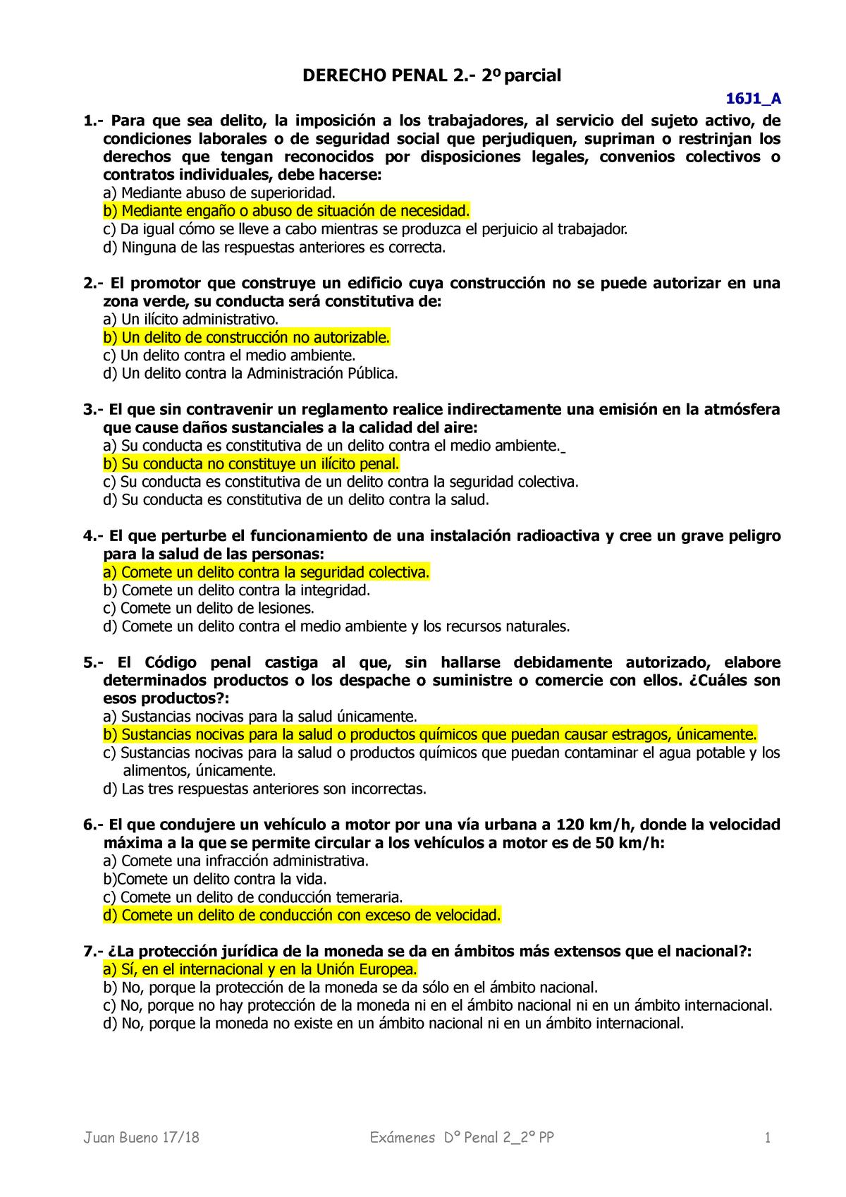Examen 2019, preguntas y respuestas - Derecho Penal II - StuDocu