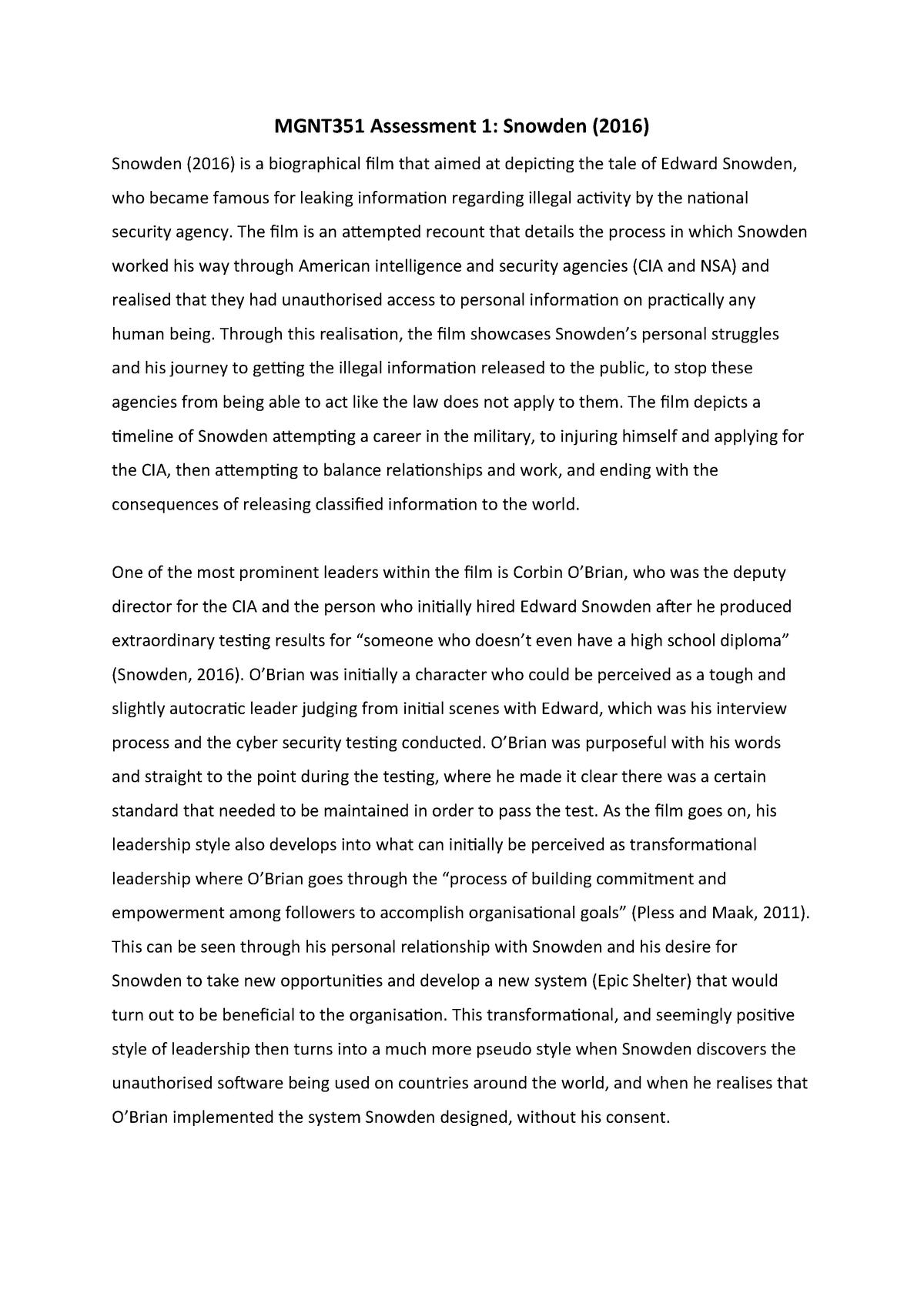 Snowden Essay - MGMT351: Responsible Leadership - StuDocu