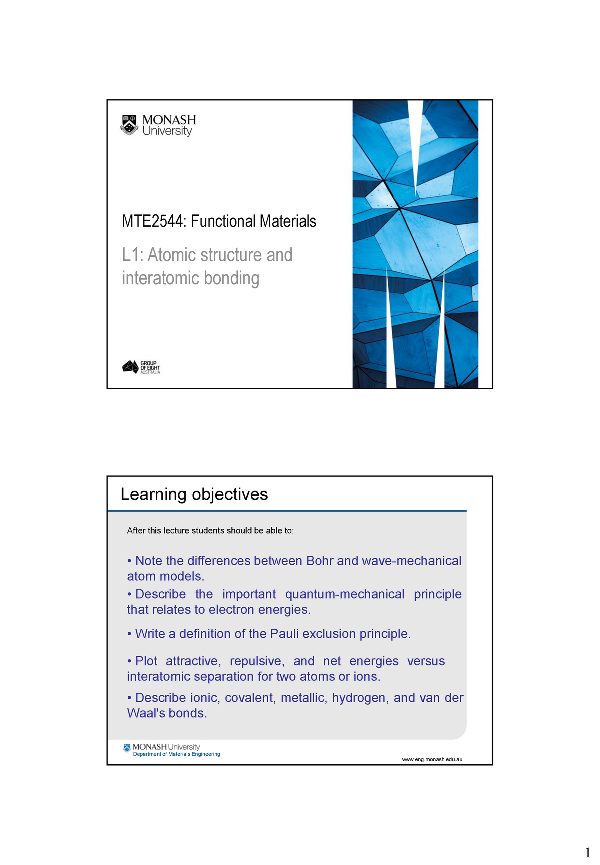 Lecture notes, lecture 1 - Functional materials - mte2544