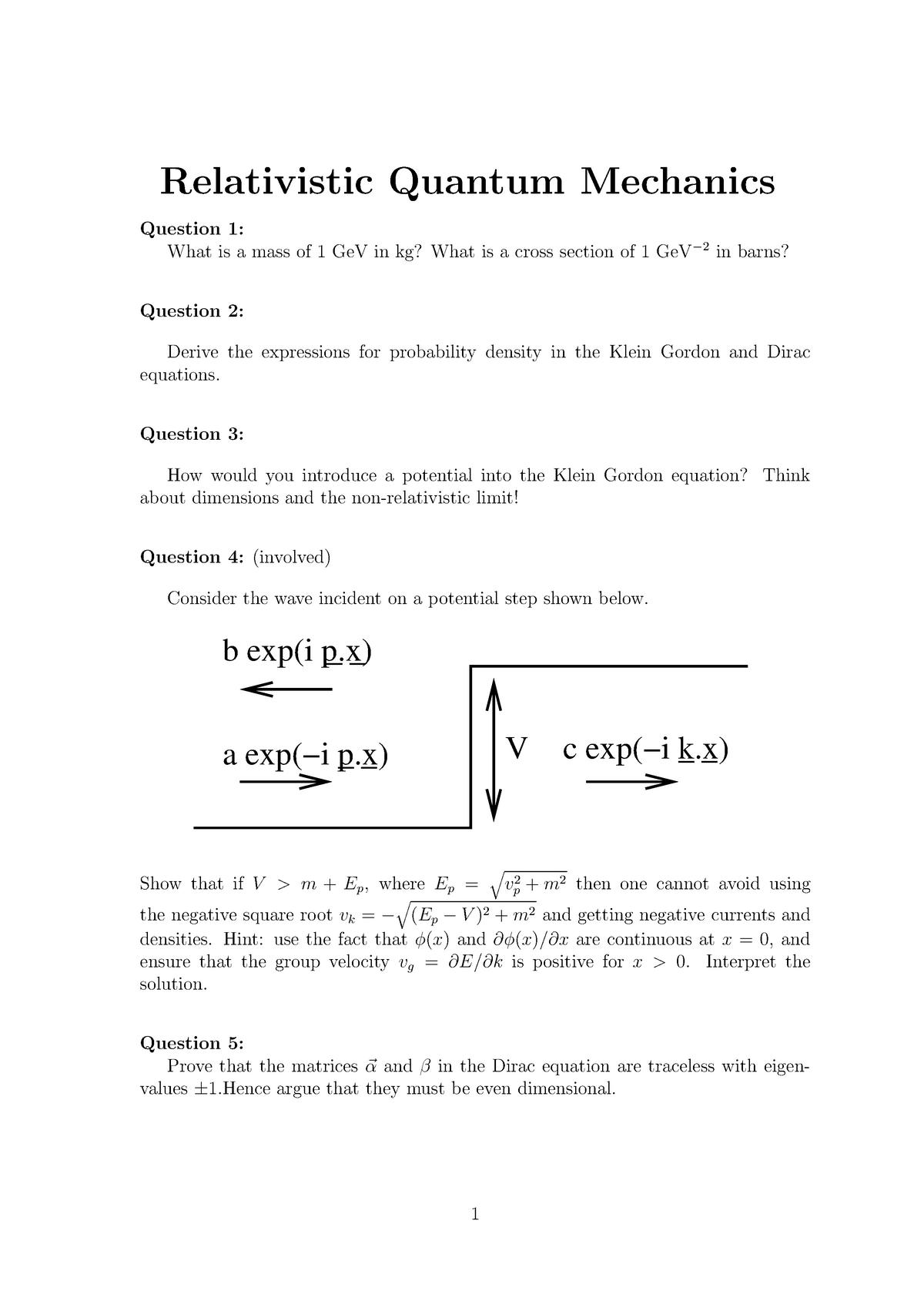 Seminar assignments - Problem sheet relativistic quantum mechanics