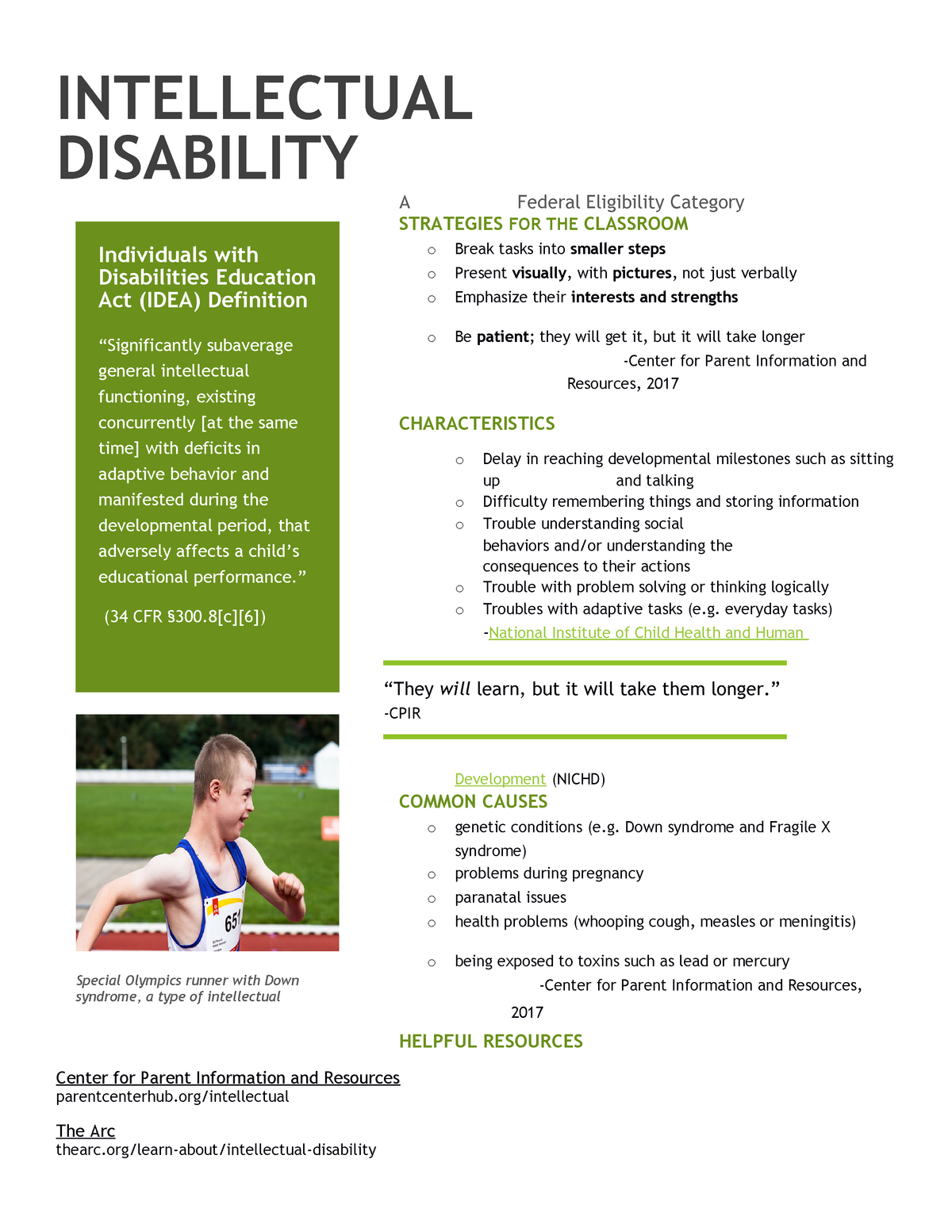 Intellectual Disability Handout - SPED 120: Introduction to