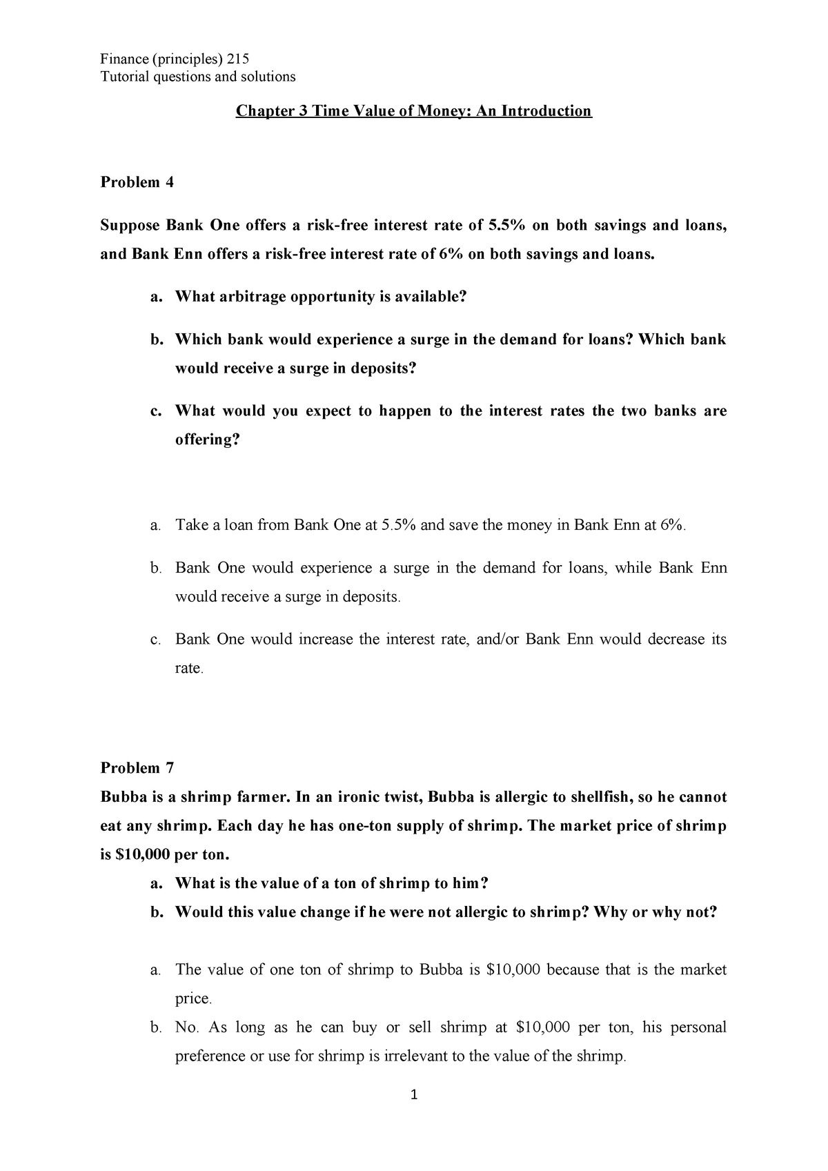 Finance (Principles): Tutorial 2 Questions & Solutions or