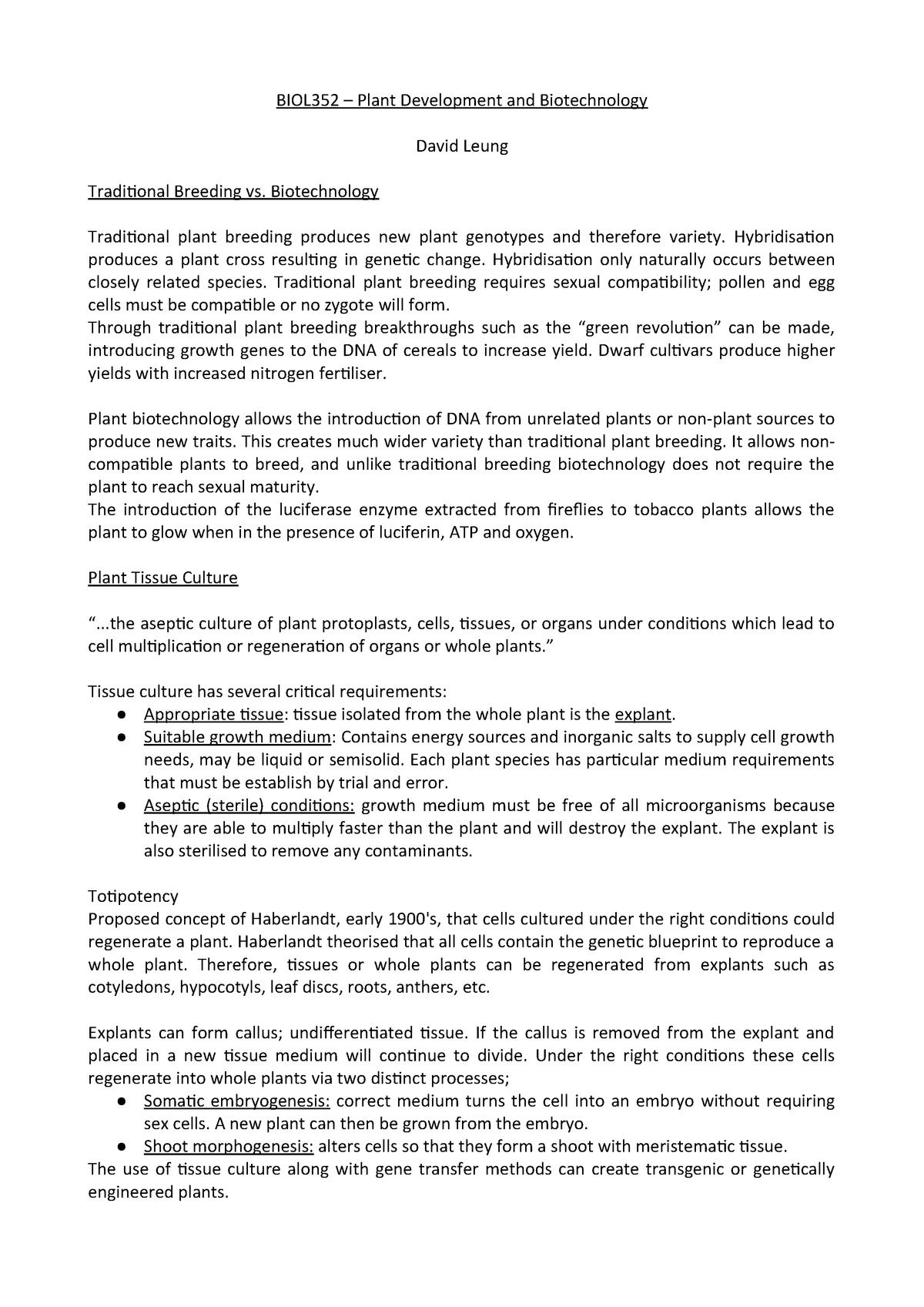 David Leung lectures - lecture notes - BIOL352: Plant Development