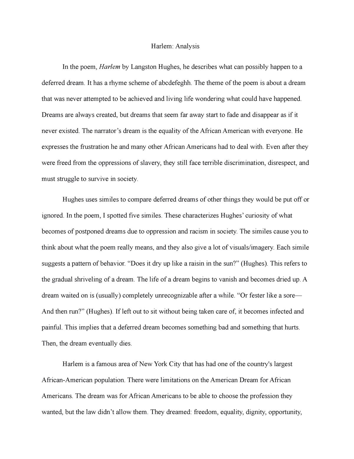 Harlem Poem Grade A Engl 102 English 102 Studocu