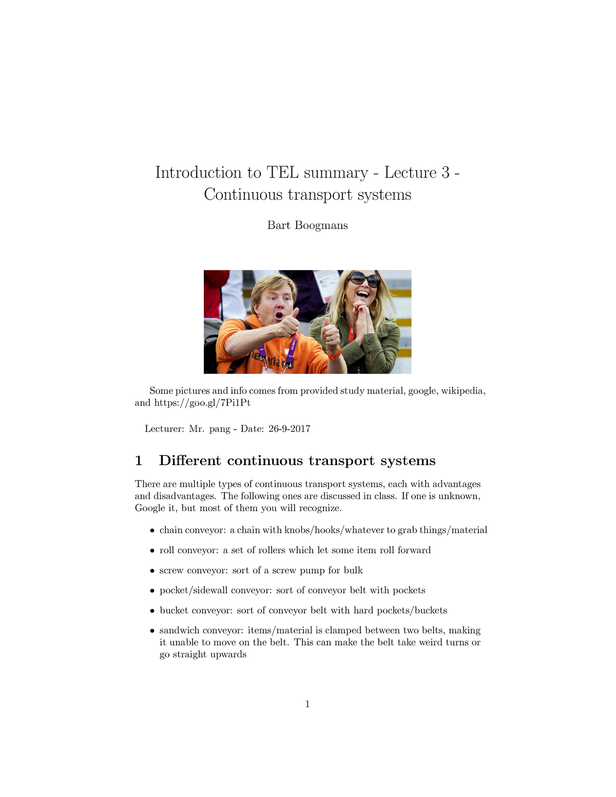 Intro Tel lecture 3 summary - ME44000: Introduction Transport