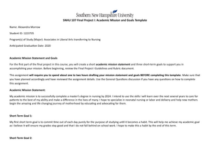 Snhu Academic Calendar.Final Project I Snhu107 Success Strategies For Online Learning