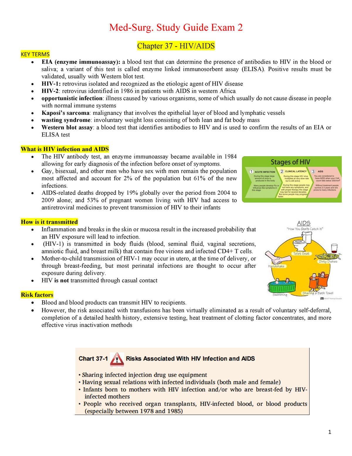 Med Surg Exam 2 Pdf Summary Brunner And Suddarth S Studocu