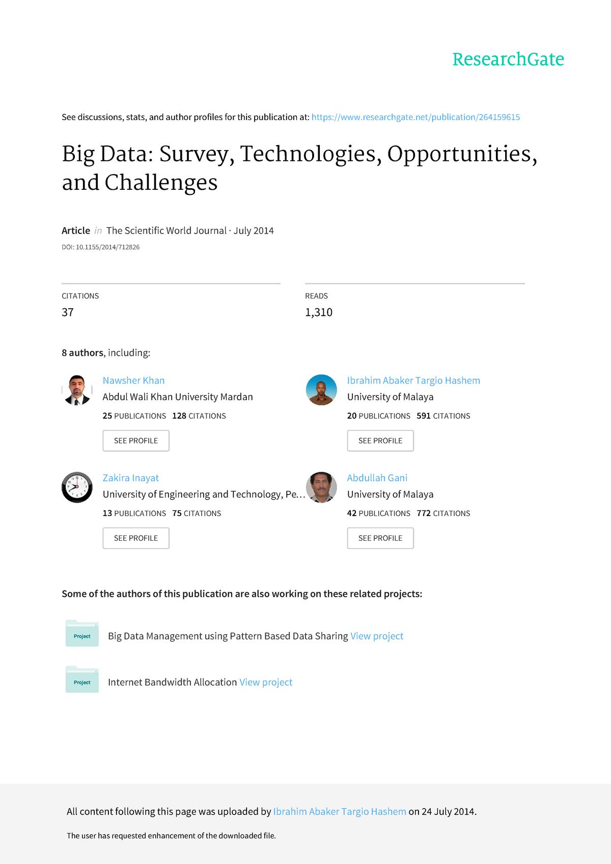 2  Big data survey 2014 - 50250: Operation management - StuDocu