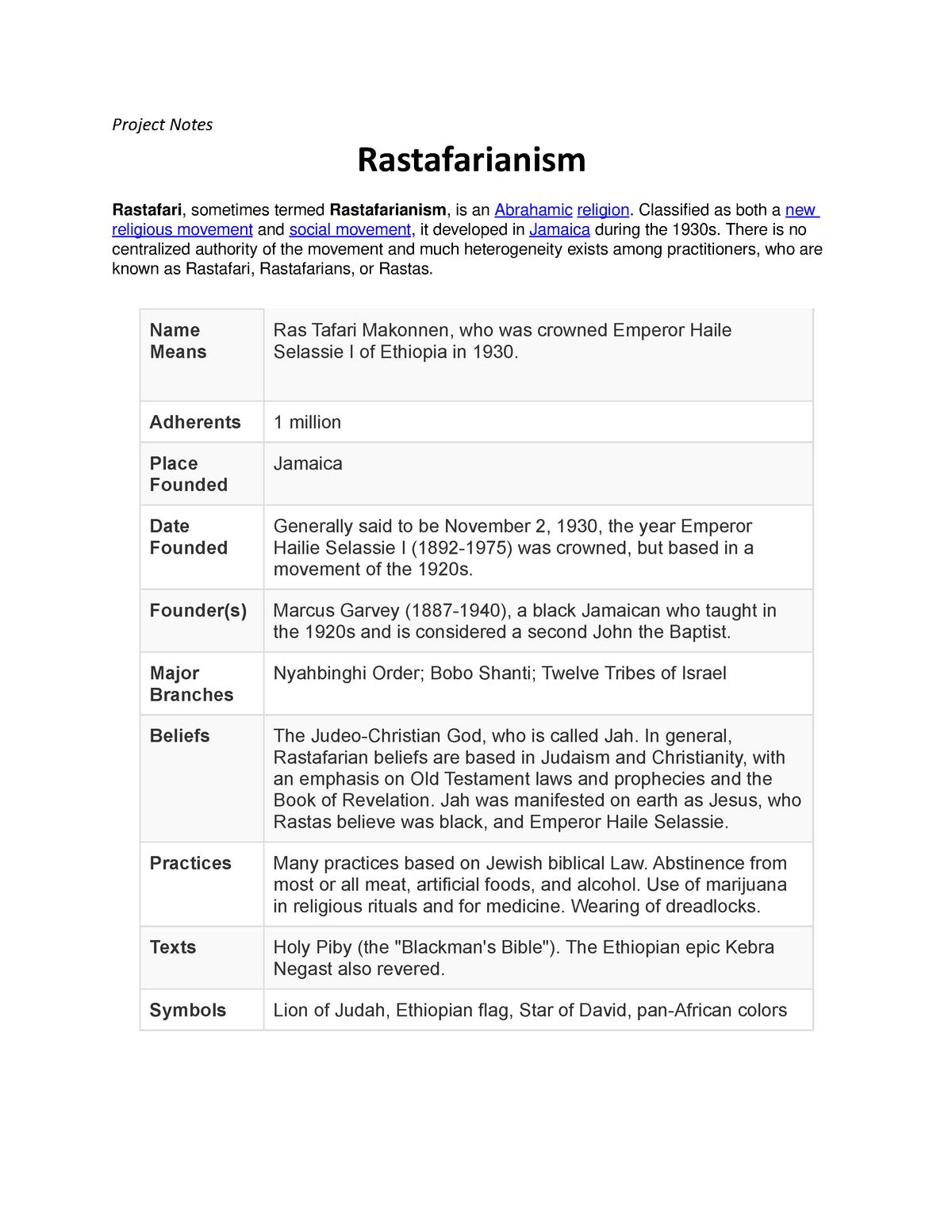 Rasta Project - REL 3001: Contemporary Religion - StuDocu