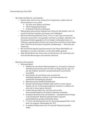 Zusammenfassung Aller Texte Dazfürgymge Mehrsprachigkeit Deutsch