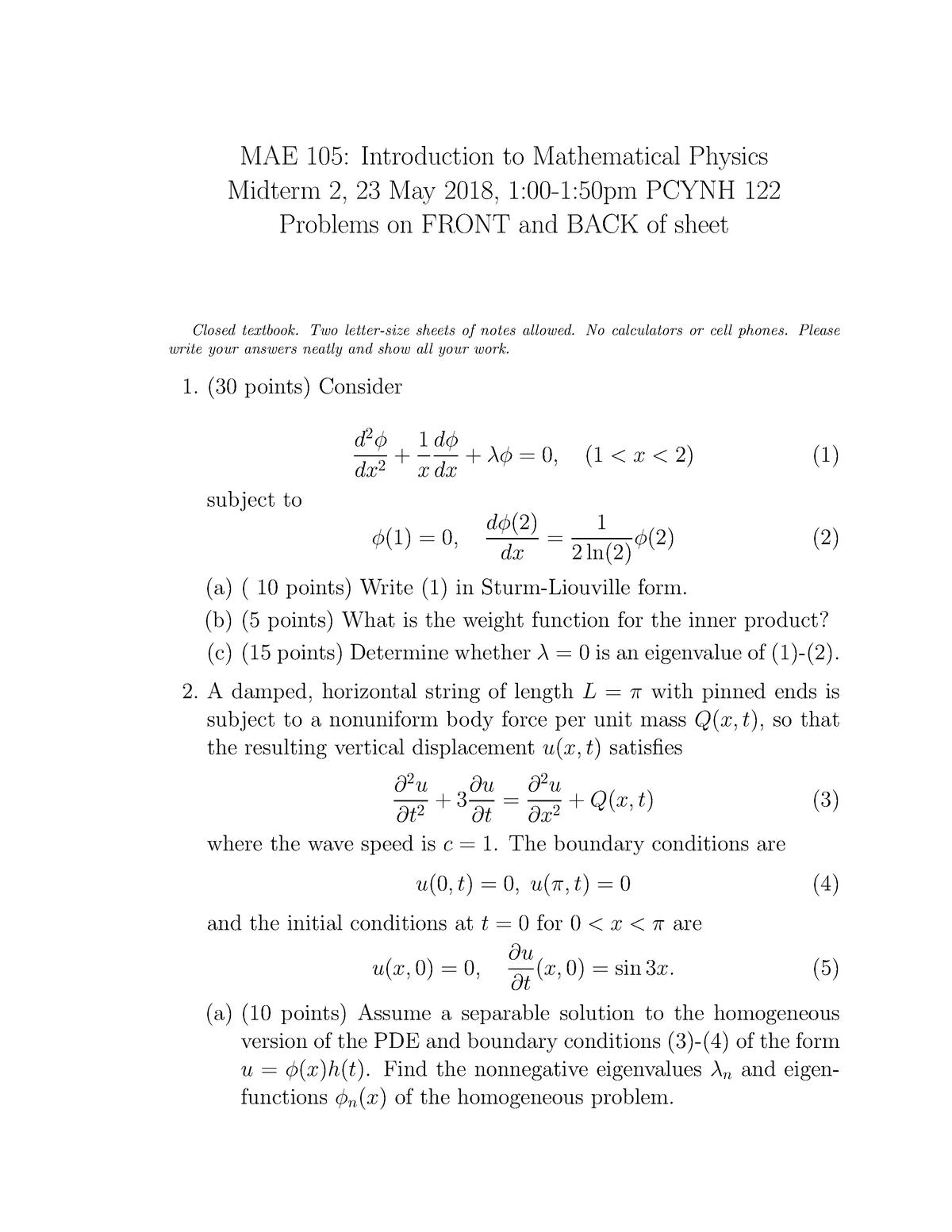 Exam 2018 - MAE 105: Introduction to Mathematical Physics