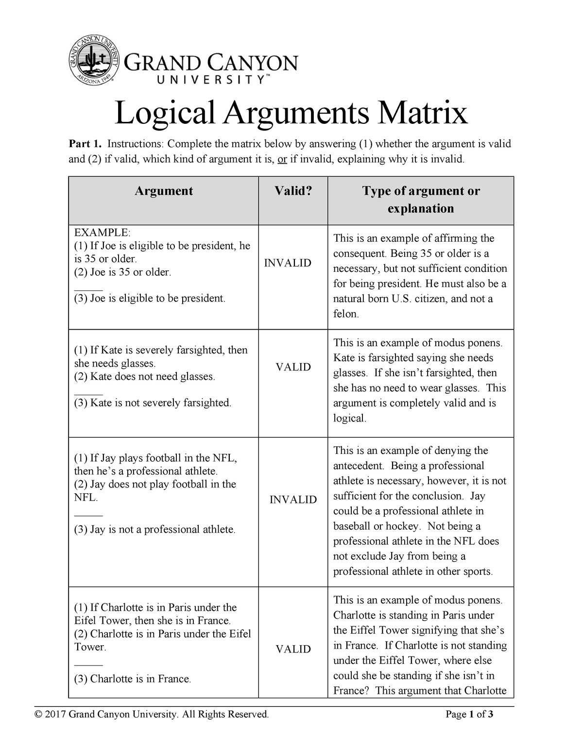 Logical Arguments Matrix - PHI-103 - GCU - StuDocu