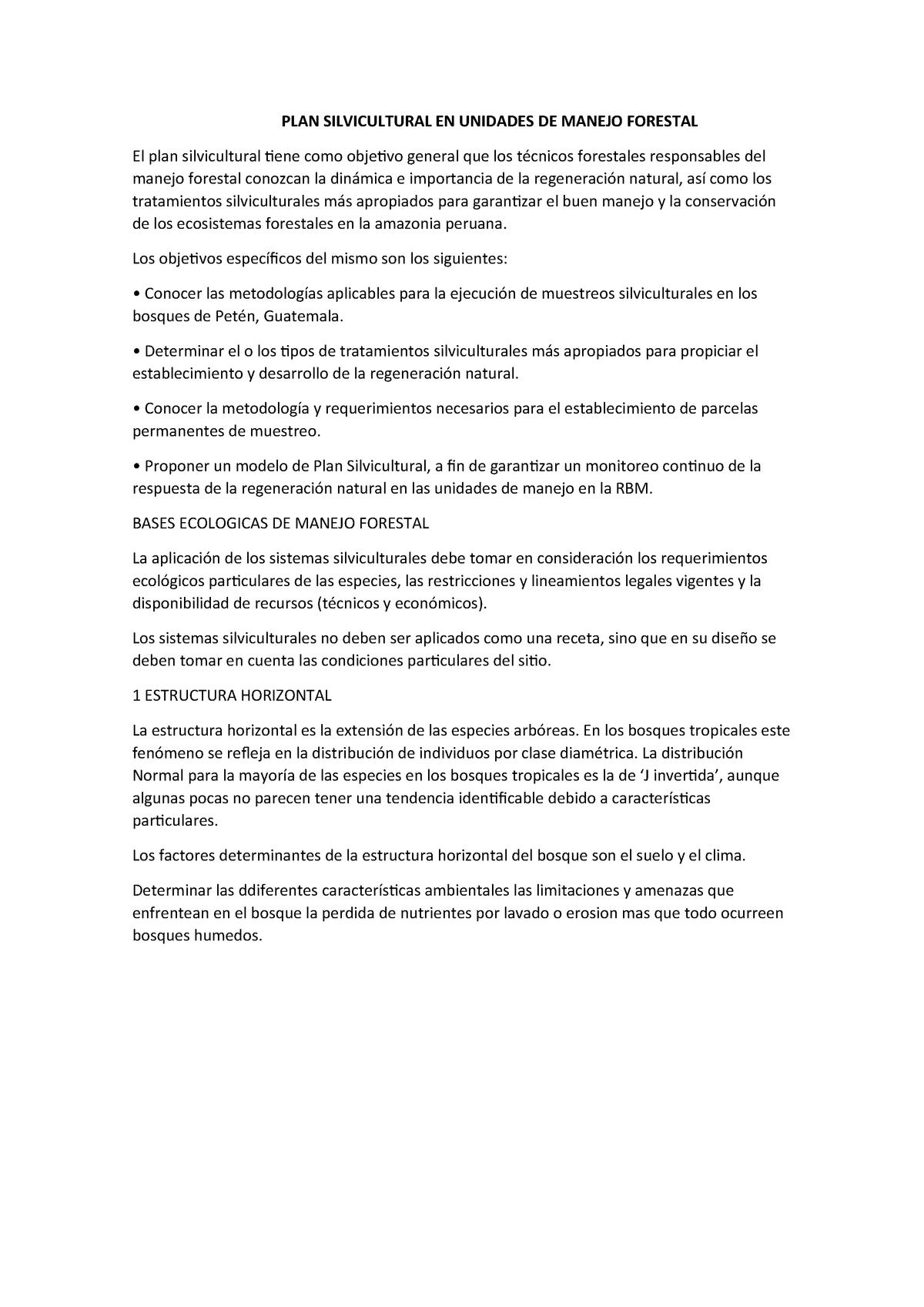 Plan Silvicultural En Unidades De Manejo Forestal Ma1016