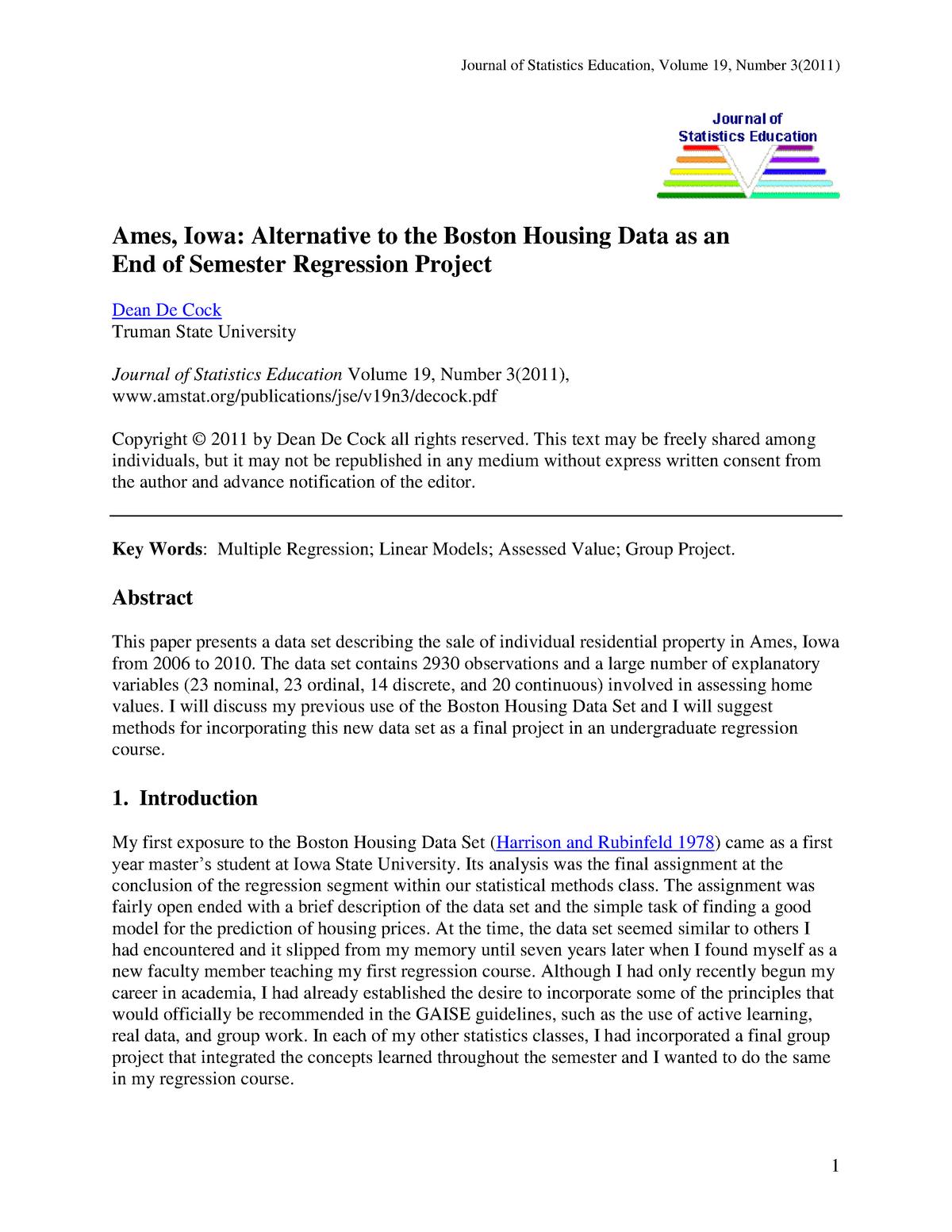 Alternative to the Boston Housing Data - X_400154: Machine
