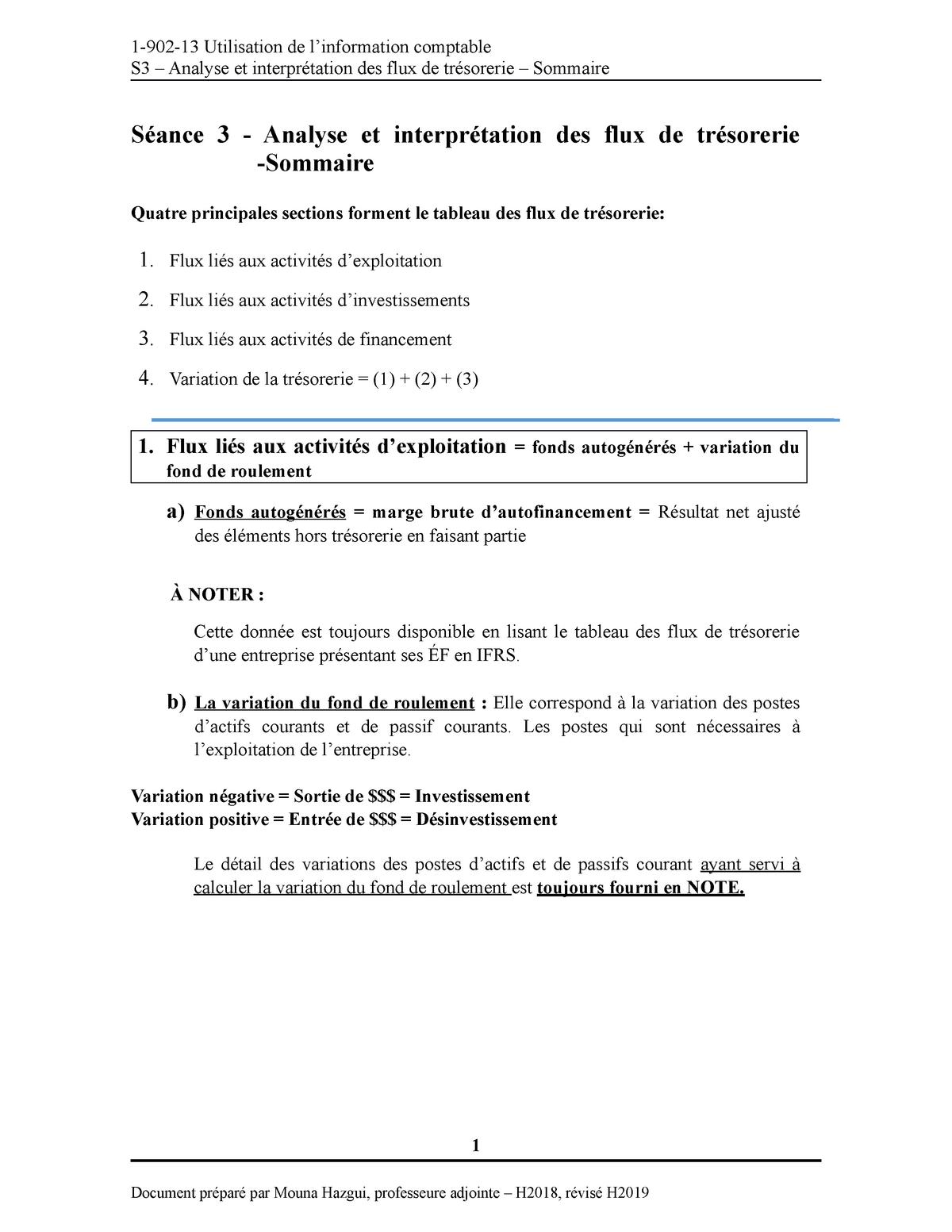 Analyse Et Terpretation Du Tableau Des Flux De Tresorerie Sommaire Studocu