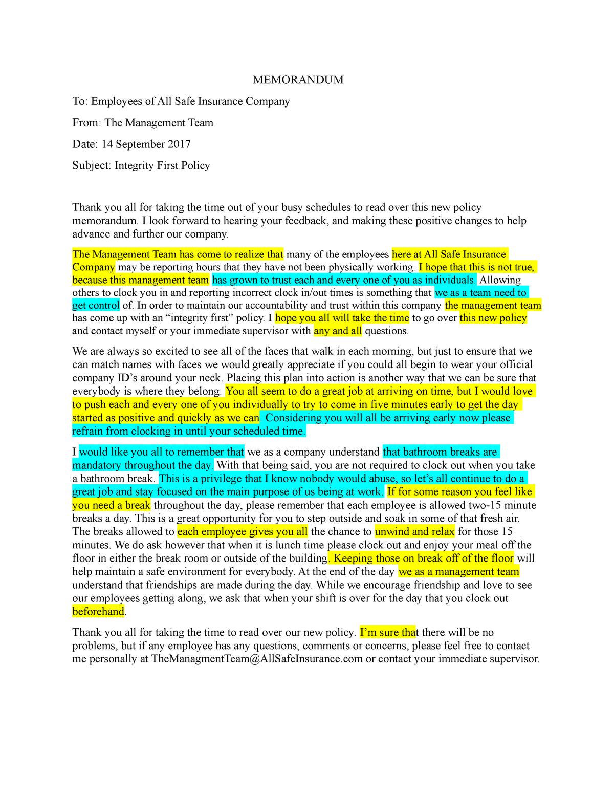 Memorandum Final Copy - Memo to help professional communication