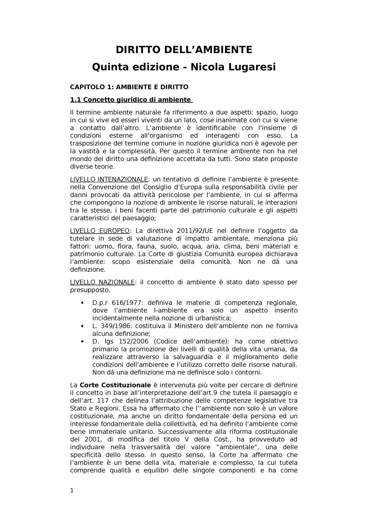 Riassunto Diritto Dell' Ambiente - - UniMi - StuDocu