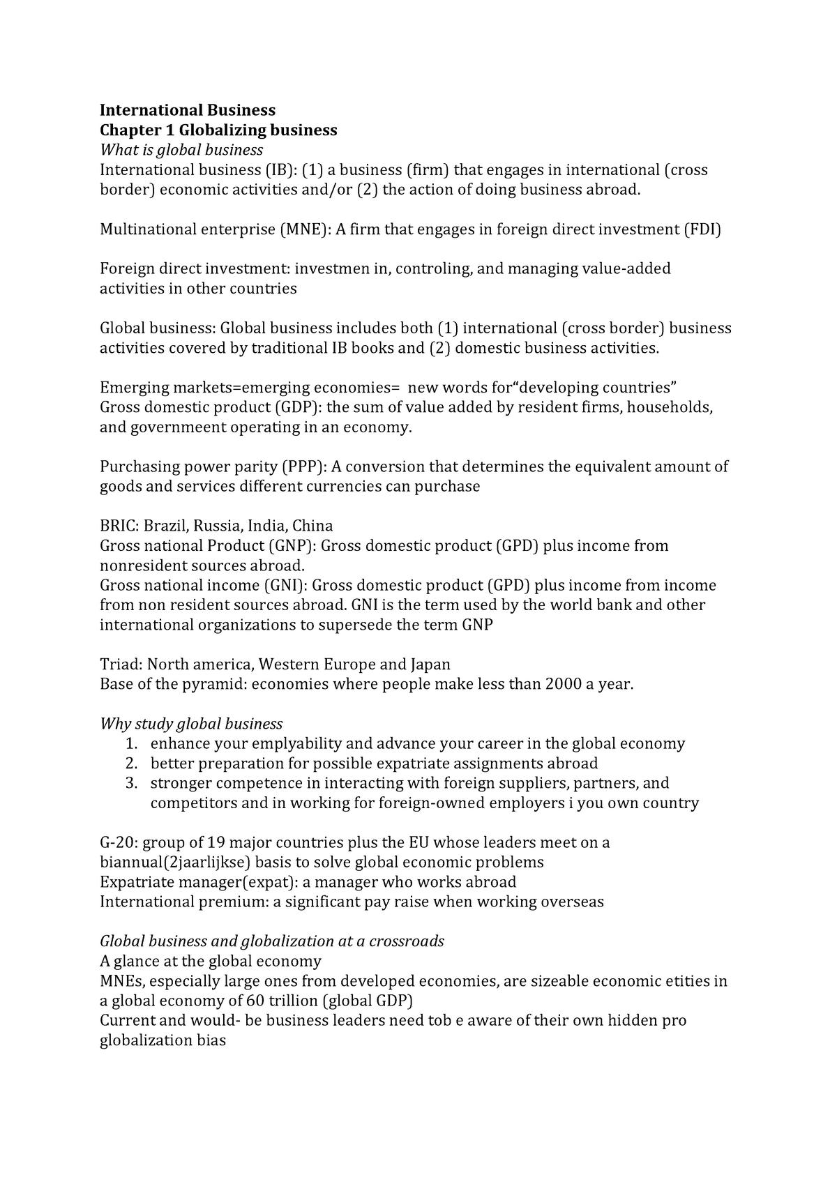 e907970e4b9 Samenvatting Summary Global business