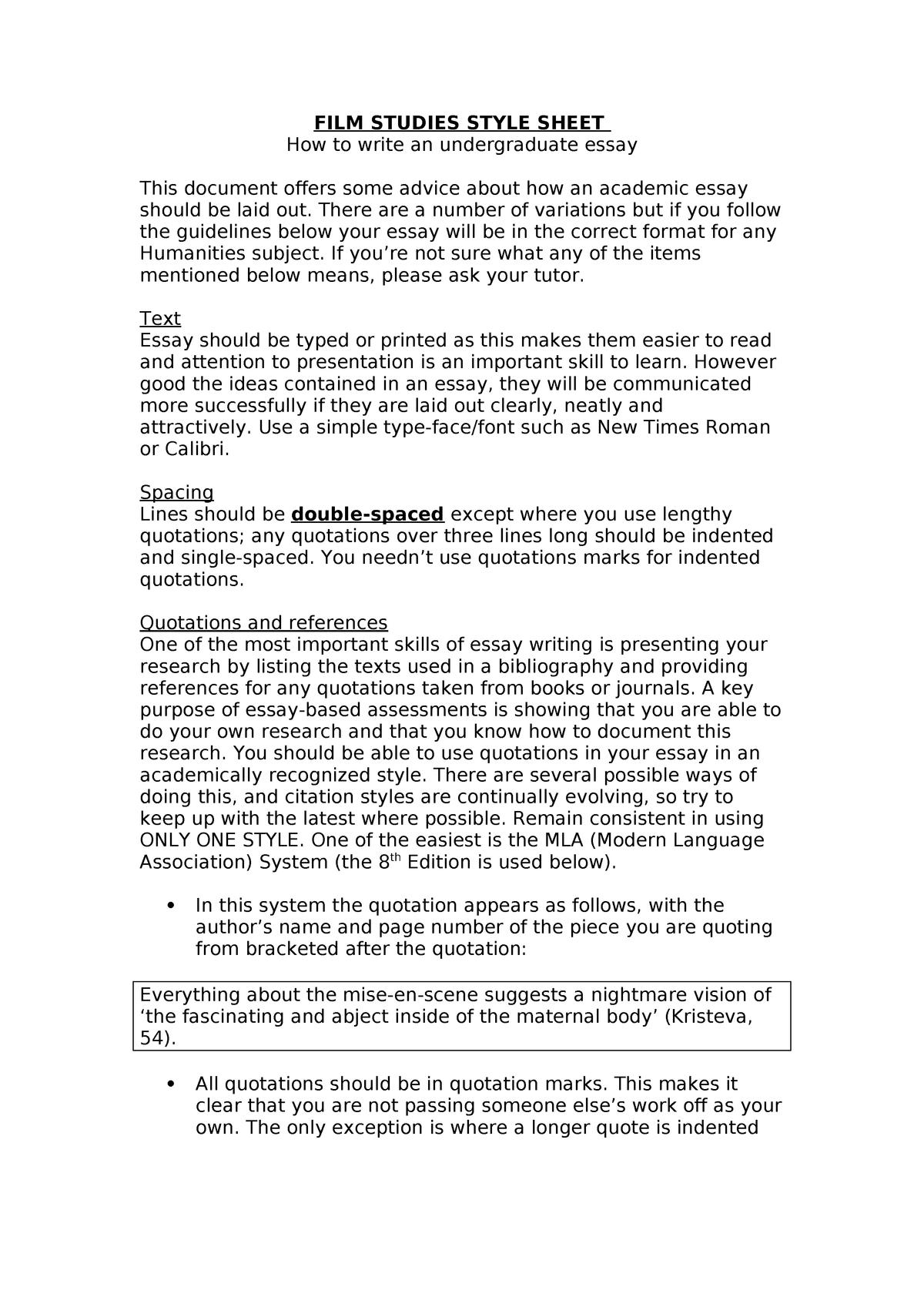 Film studies style sheet - EN2203/EN2113: Introduction to