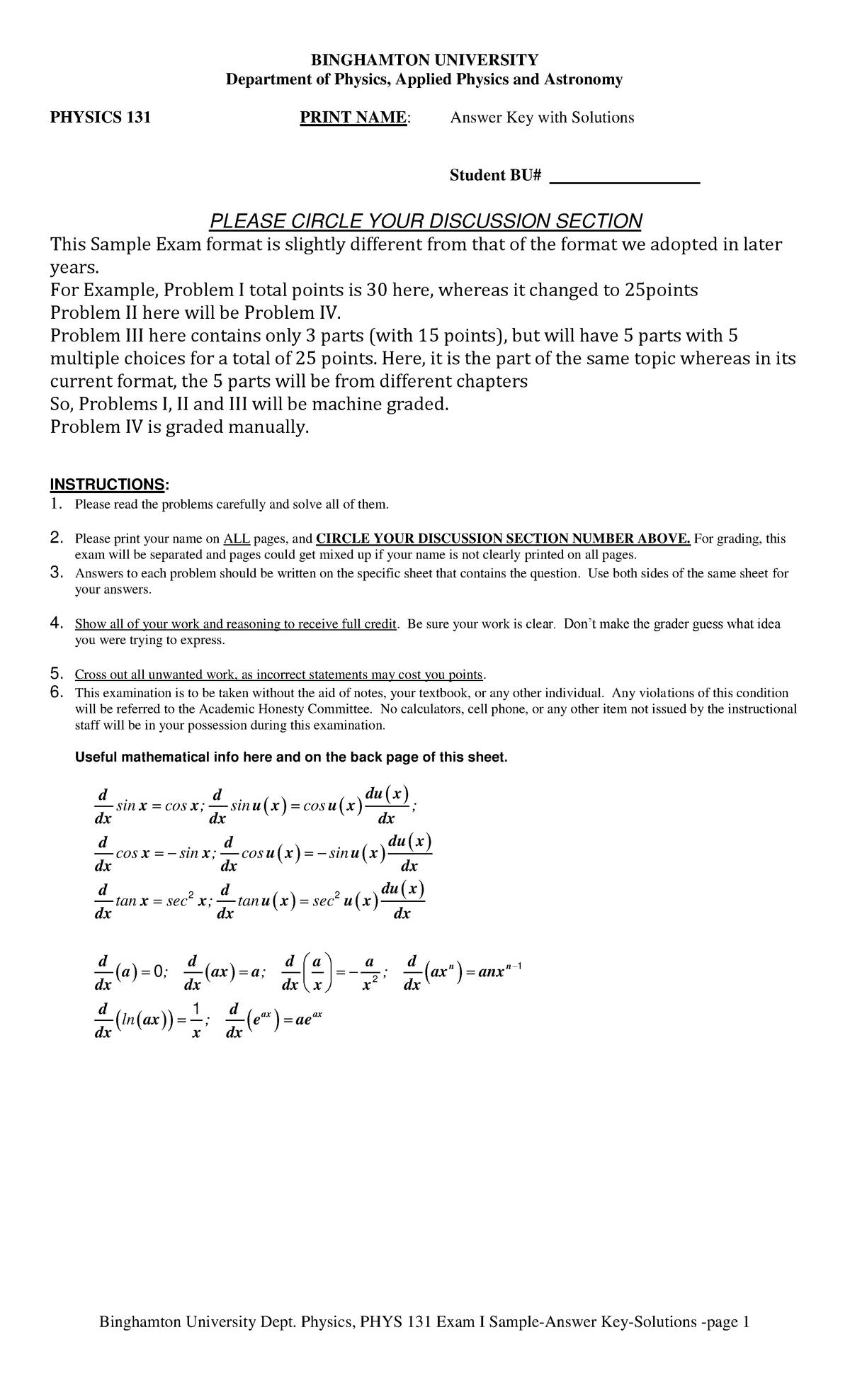 Exam 2017 - PHYS 131: Gen Physics I Calc Based (Lec) - StuDocu
