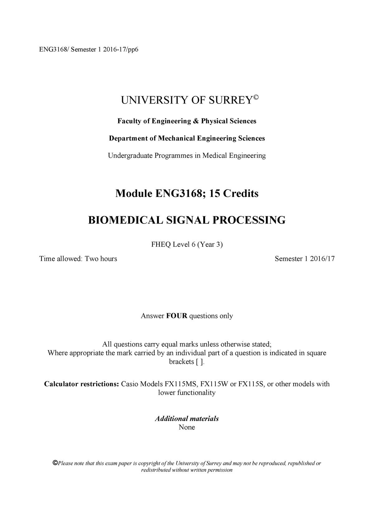 Eng3168 Biomedical Signal Processing 2016 17 Studocu
