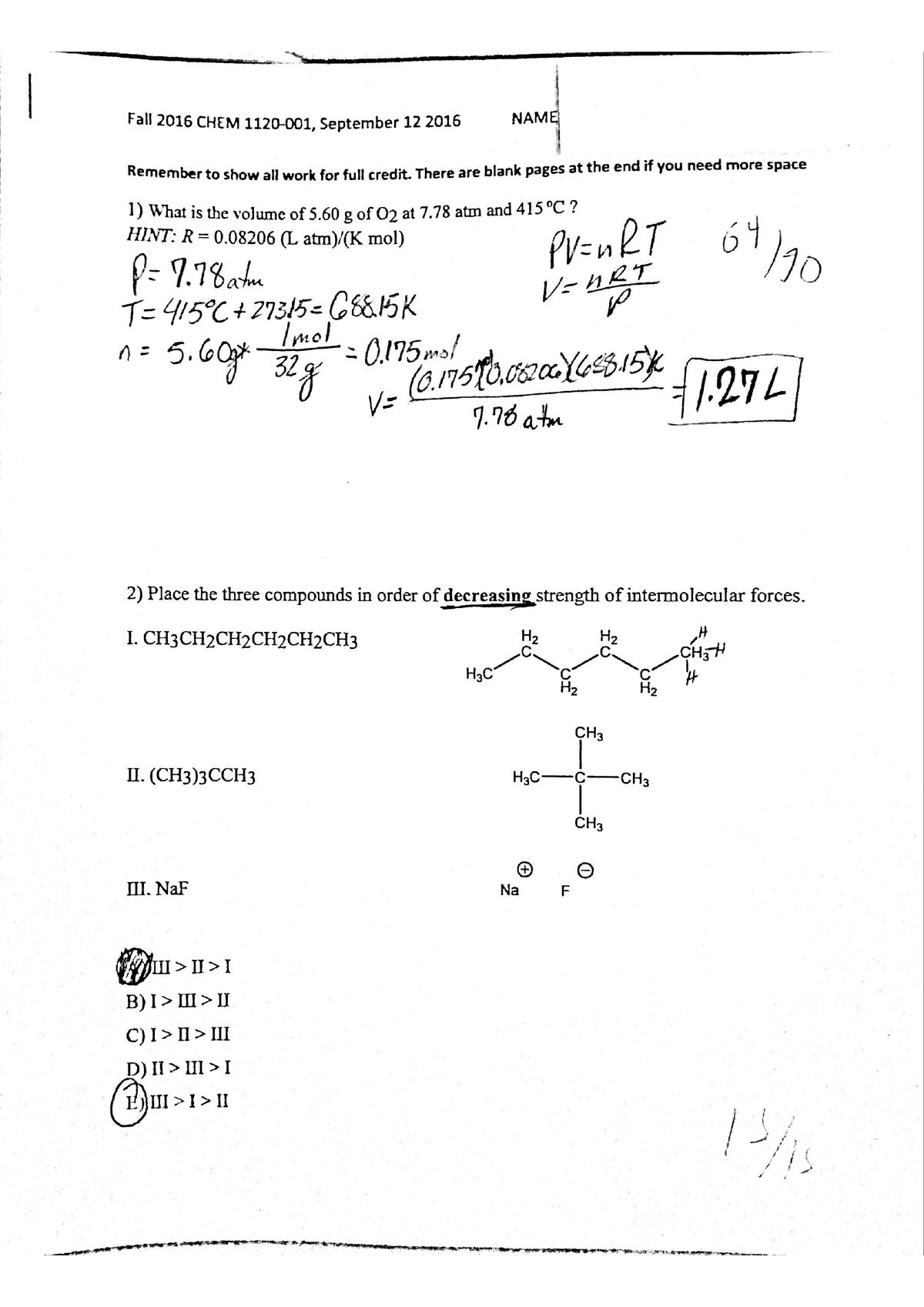 Exam 2016 - CHEM 1120: General Chemistry Ii - StuDocu