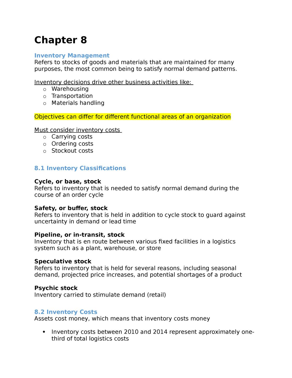 Chapter 8 - Lecture notes 4 - SCMT 310: Logistics I - StuDocu