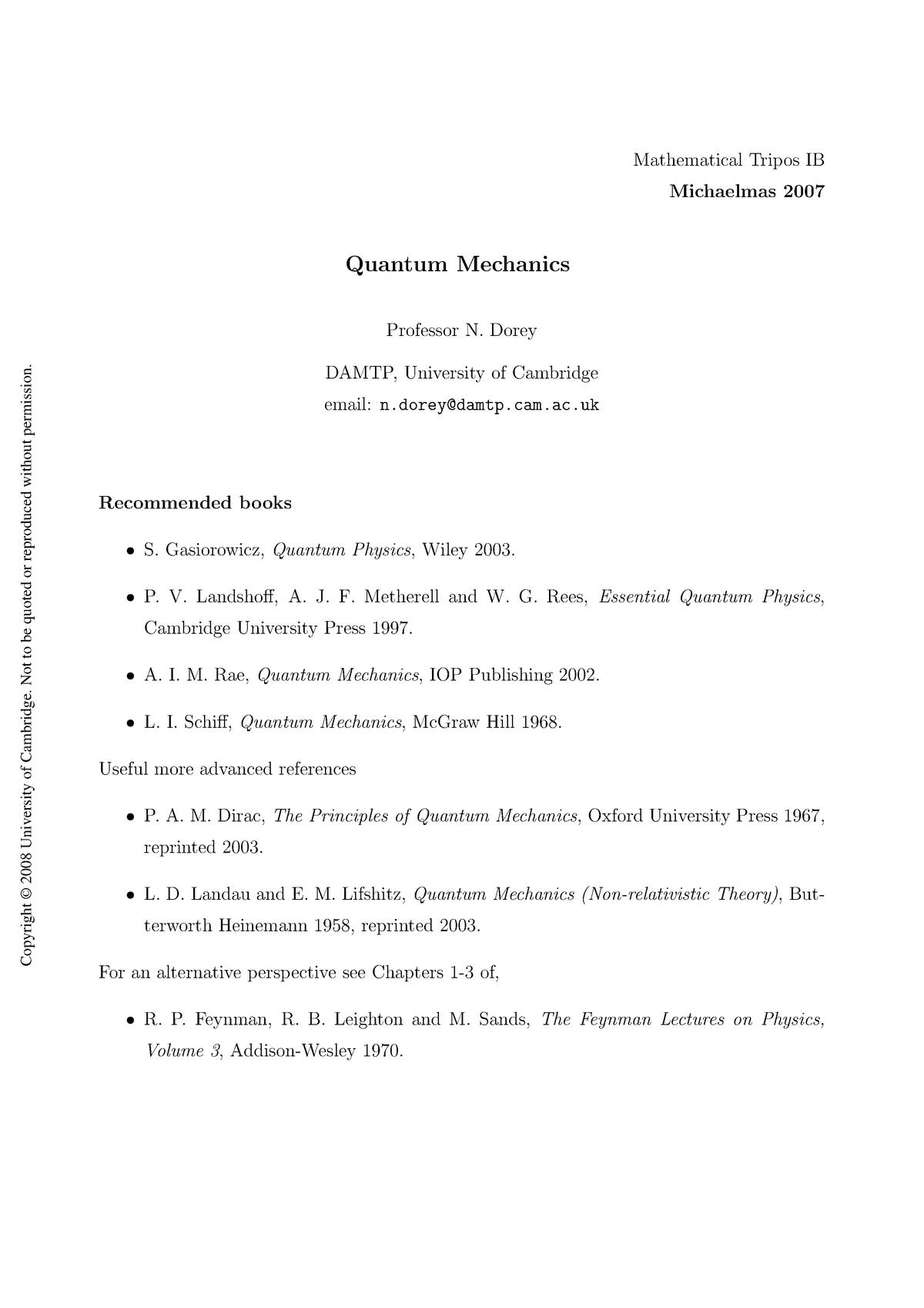 Lecture notes, lecture All - B9: Quantum Mechanics - StuDocu