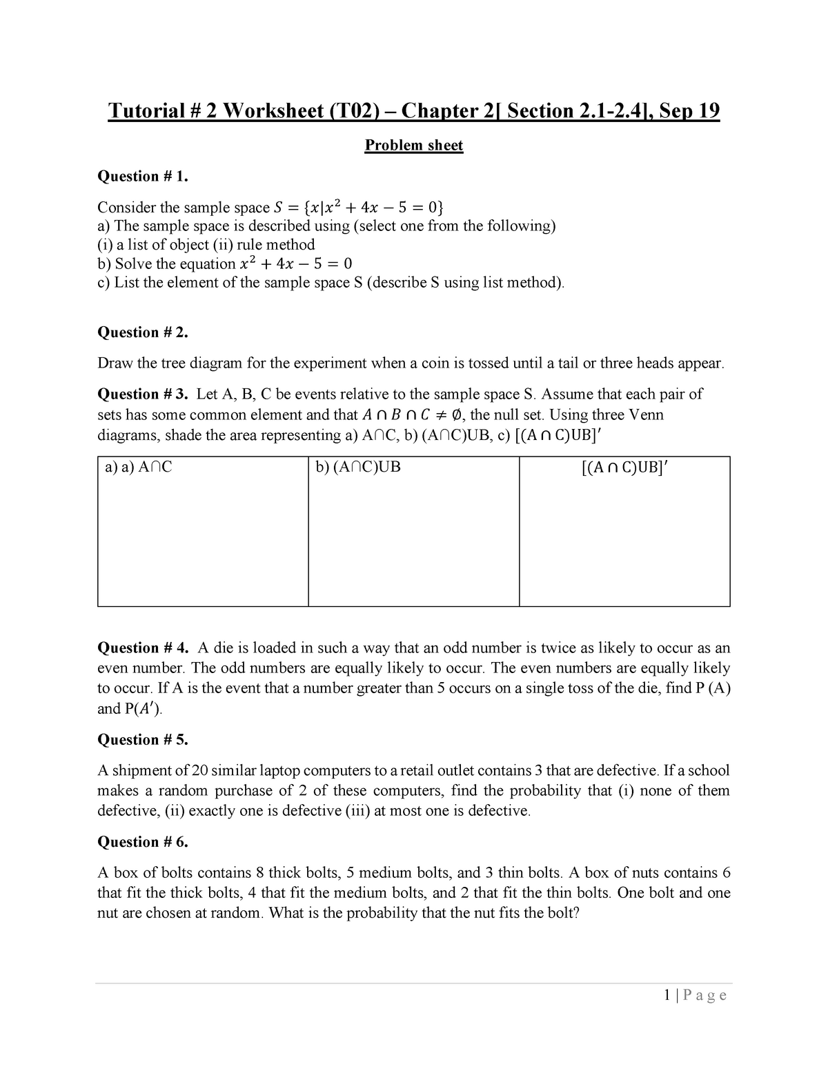 Problem sheet and solution worksheet T#2 (Section T02