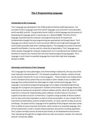 The C Programming Language Report 2 - 5CS003: Systems Programming