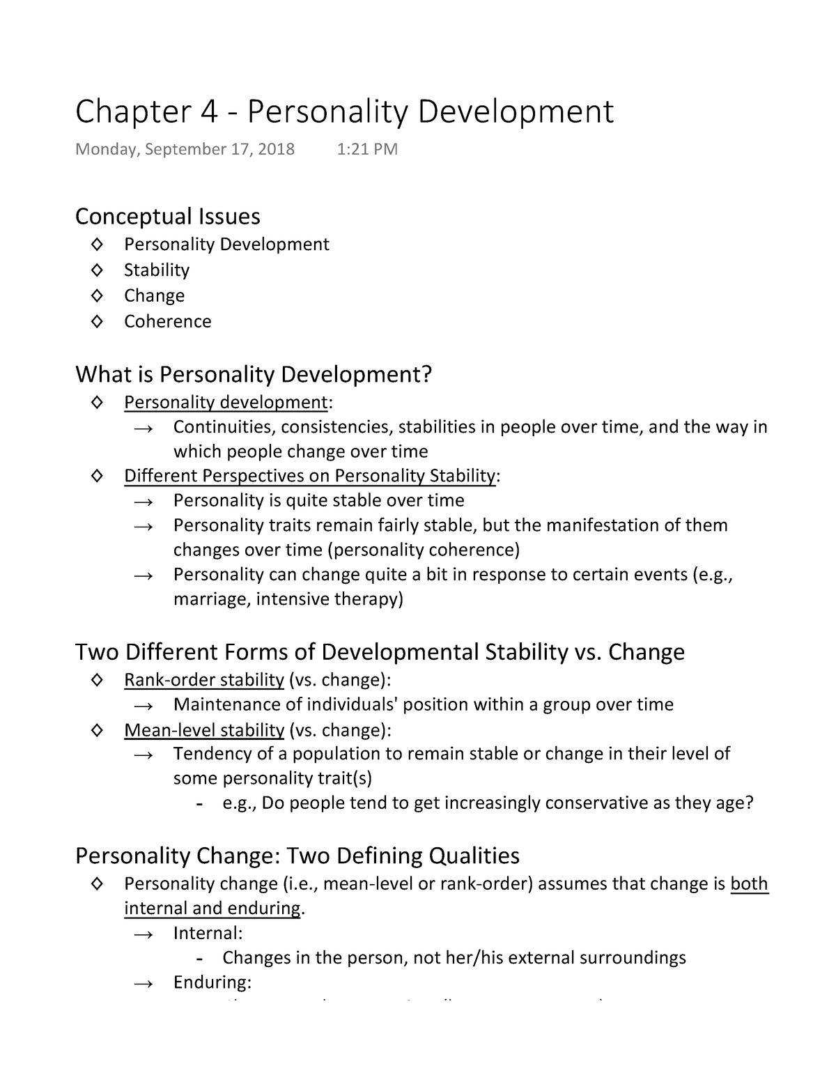 Chapter 4 - Personality Development - 3750 480-002 - StuDocu