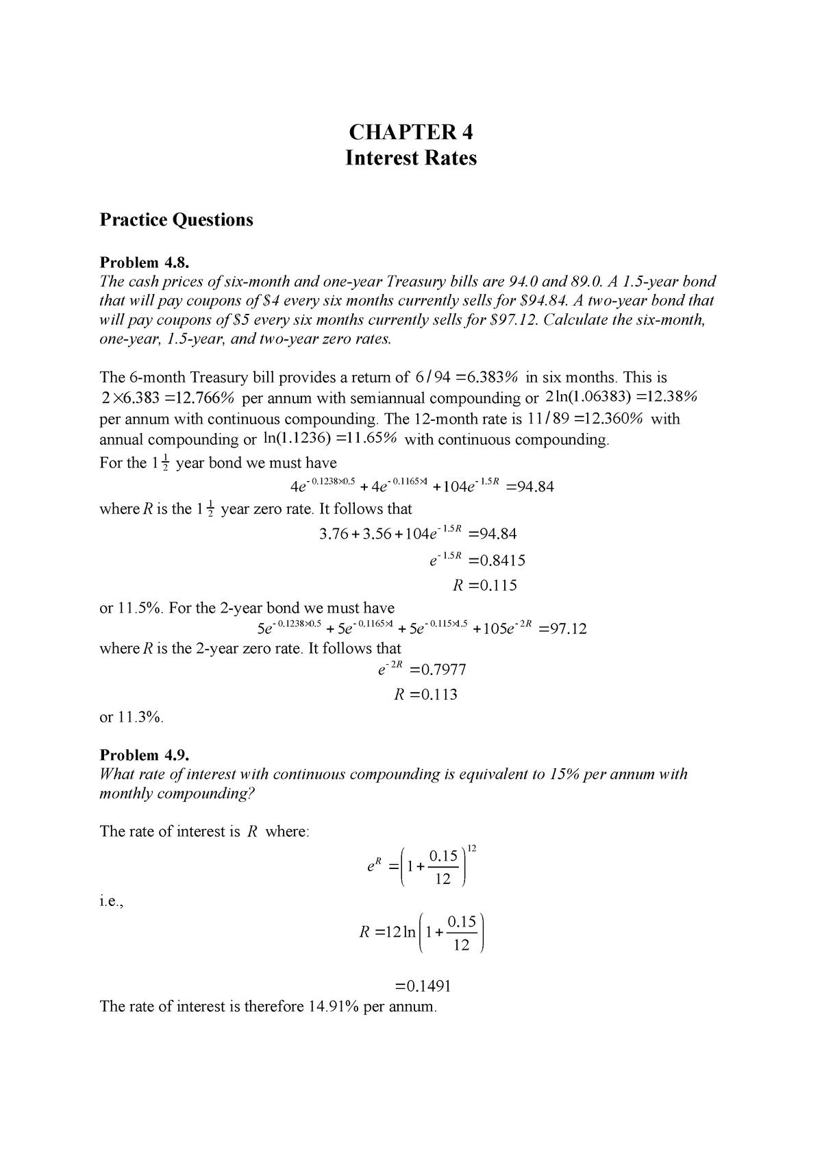 Hull Fund 9e Ch04Problem Solutions - FINA 471 - StuDocu