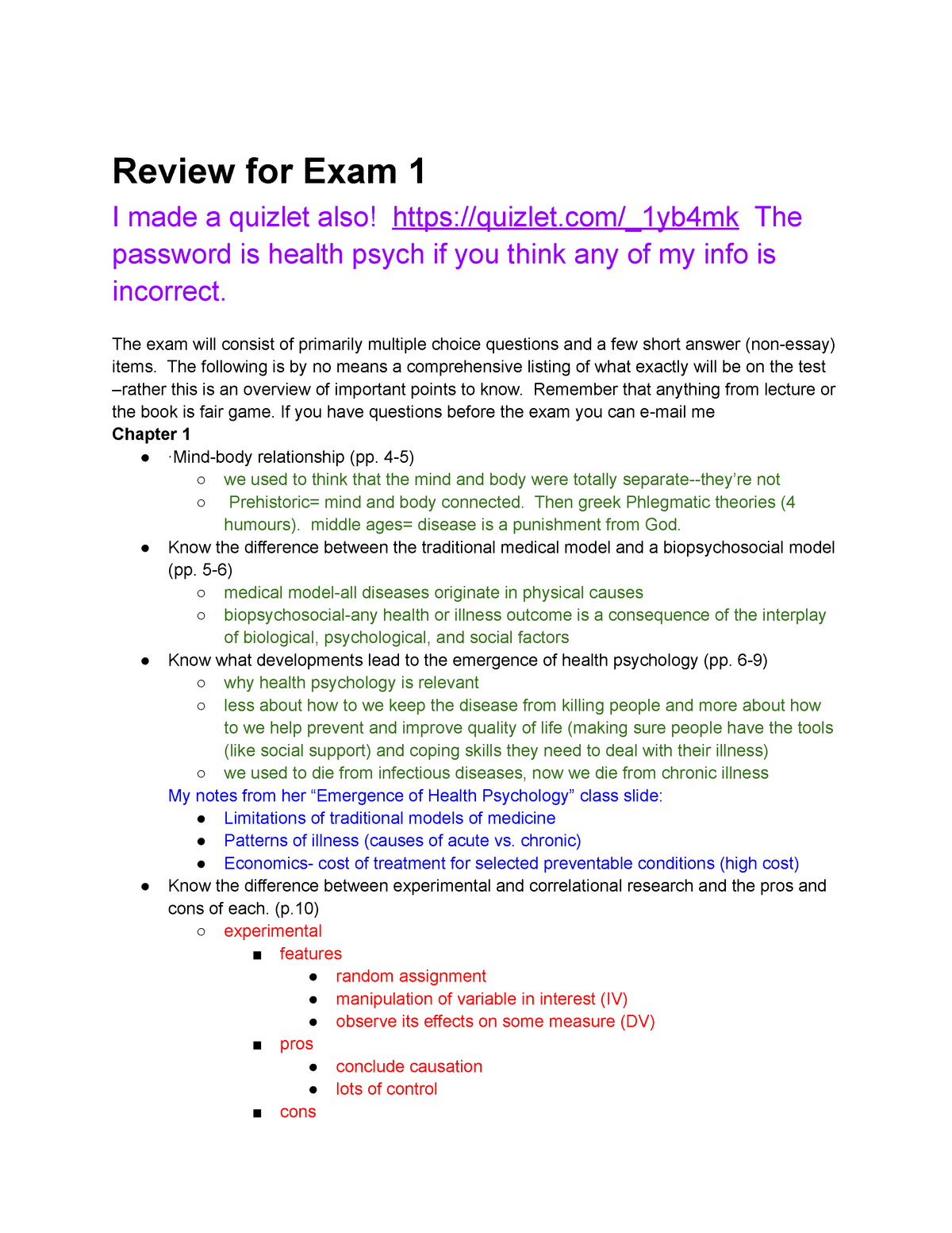 Health Psychology Exam 1 Review Guide - PSYCH 356 - StuDocu