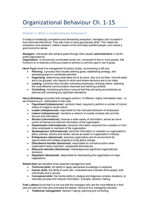 Summary Organizational Behaviour Chapter 1-15 - BAP71