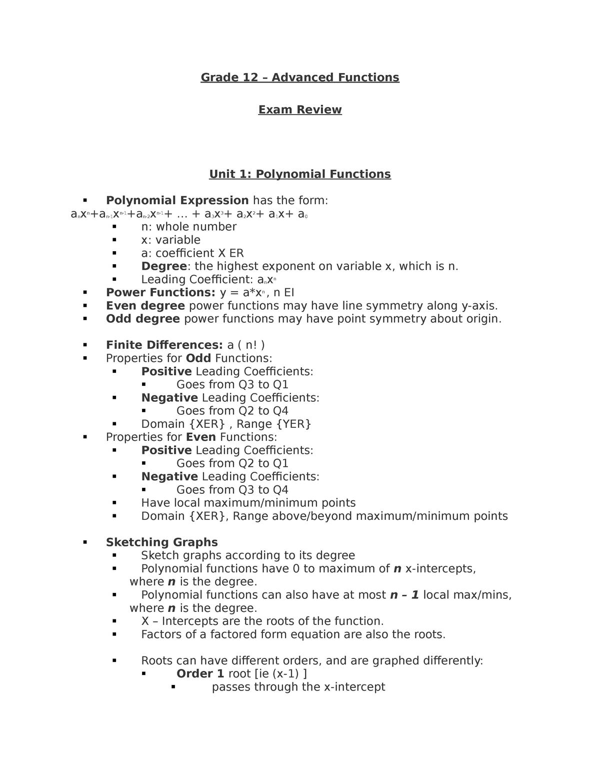 Advanced Functions Exam Review - MATH 1P67 - Brocku - StuDocu