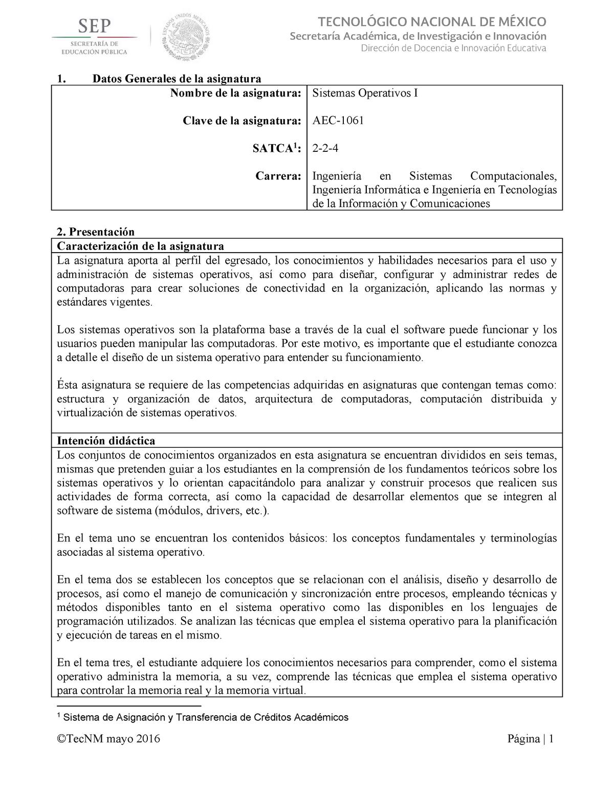 Sistemas Operativos I - TEMARIO TECNOLÓGICOS - 135751104