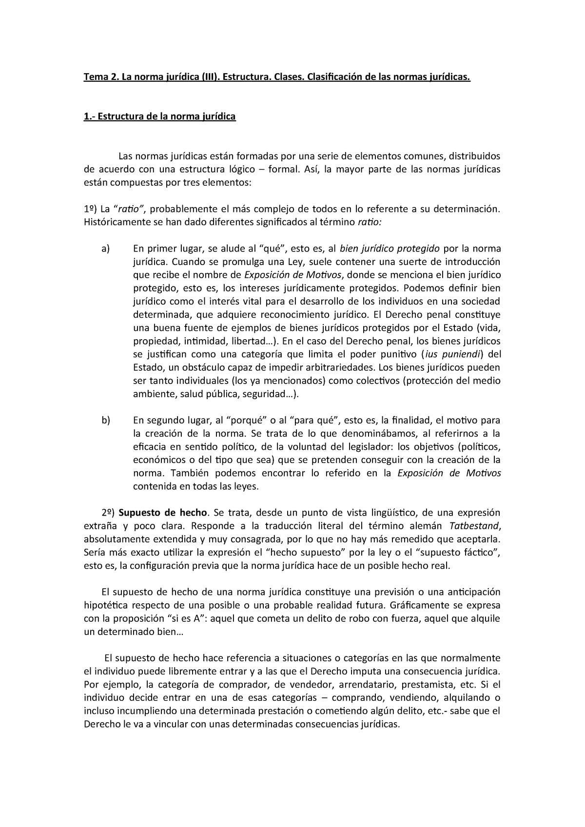 Tema 2 Estructura Y Clasificación De Las Normas Jurídicas 2