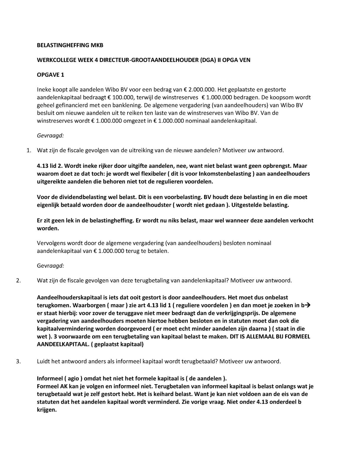 Wel Of Geen Bv.Werkgroep Uitwerkingen 4 Vragen En Uitwerkingen Uva