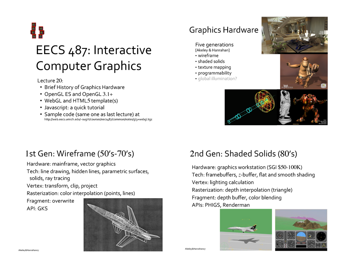 Lecture notes, lecture 20 - CS 4611: Computer Graphics - StuDocu