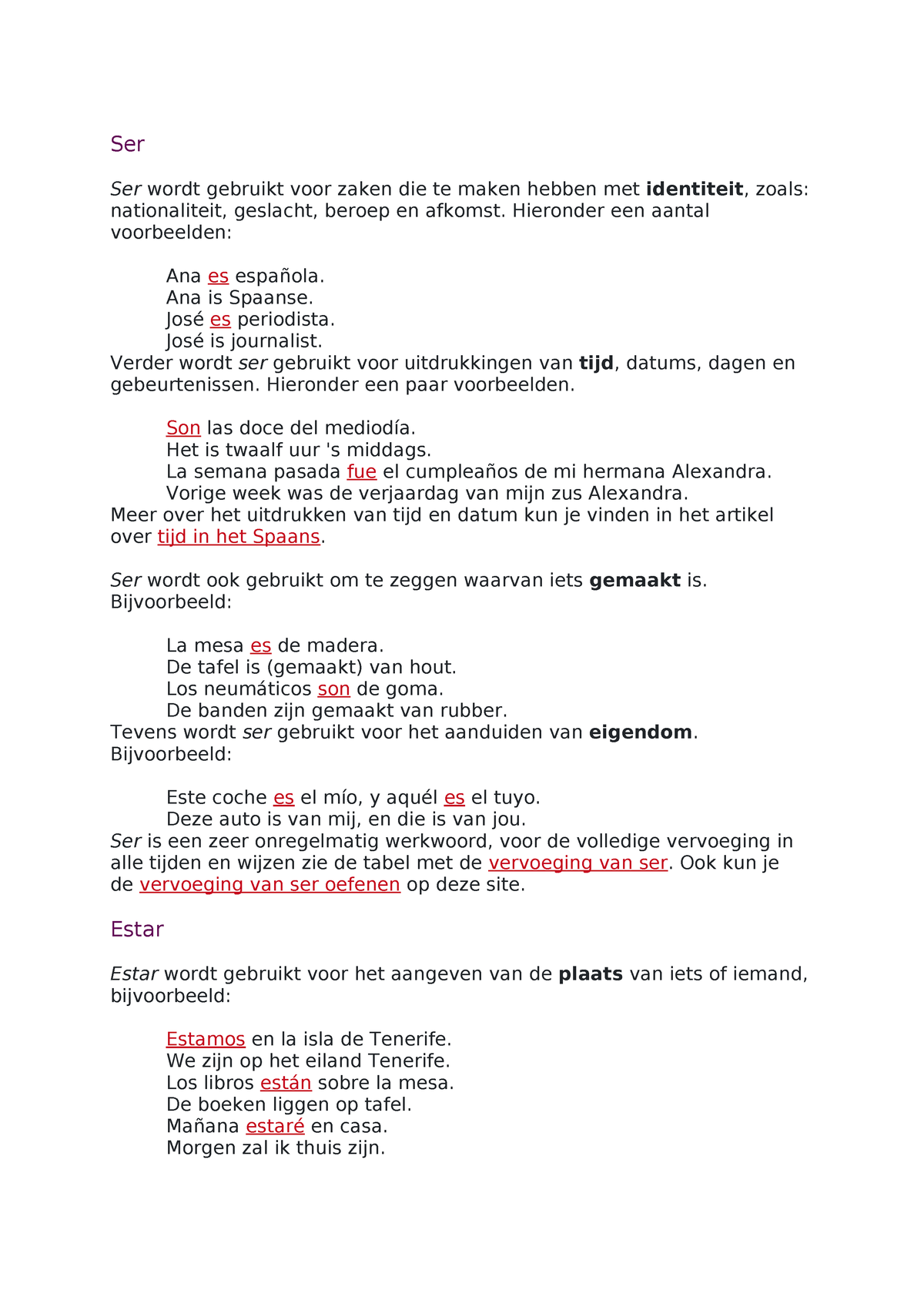20d2eb2c360 Spaans werkwoorden - ser en estar - Spaans - StudeerSnel.nl