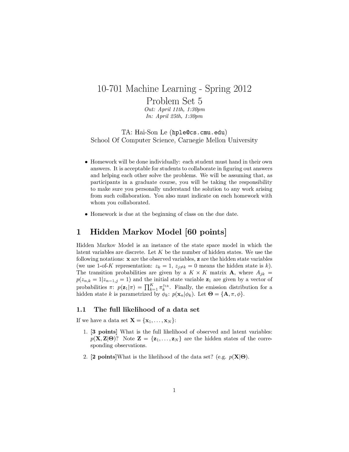 Problem set 5 Machine Learning - 10-701: Machine Learning