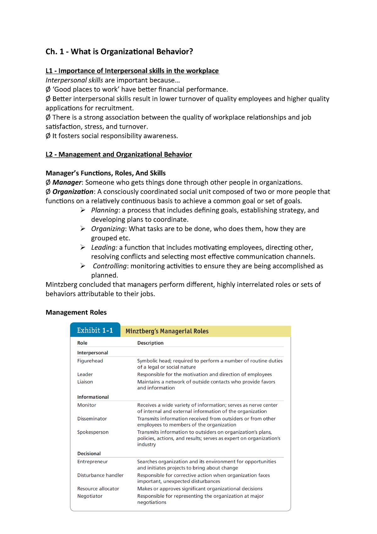 OB summary - Samenvatting Organisational Behaviour